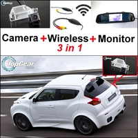 3 in1 Special Rear View Camera + Wireless Receiver + Mirror Monitor Easy DIY Back Up Parking System For Nissan JUKE 2011~2015