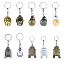 Hot 3D Star Wars Robot BB8 R2D2 C-3PO Model Keychain Pendant Metal Keyring Men Boys Gift Star Wars Character Car Key Chain Decor rj free shipping silver star wars cuff links robot bb8 r2d2 fighter knight stormtrooper tie clips cufflinks women men jewelry