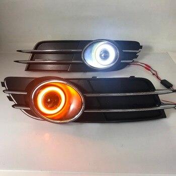 RQXR fog lamp driving light assembly for Audi A6 C7 cob angel eye led daytime running lights turn signal