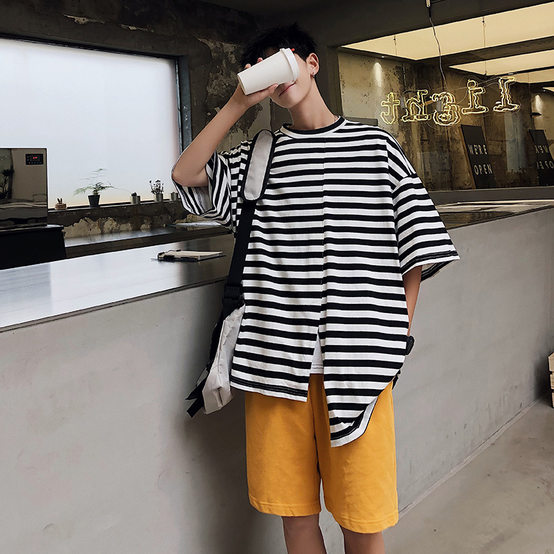 Short sleeved T Shirt Men Summer New Casual Striped O neck Cotton Tshirt Man Streetwear Loose Hip hop Personality T shirt M 2XL in T Shirts from Men 39 s Clothing