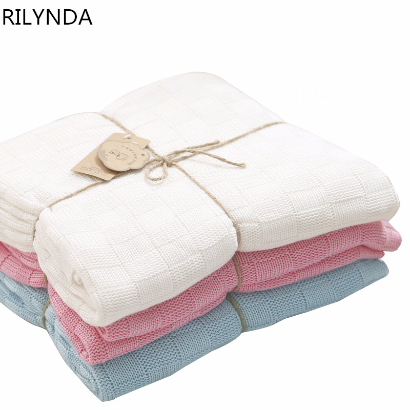 ФОТО New born baby blankets infant wrap children bamboo fiber knitted double-sided blanket  blue  white pink 100% cotton bath towel
