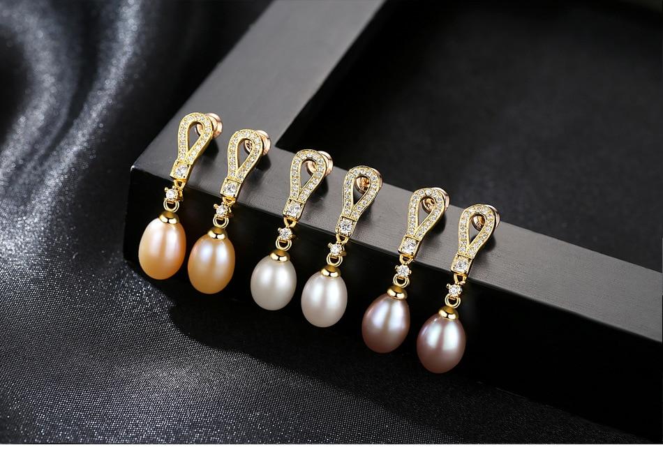 S925 Sterling Silver Earrings Natural Pearl Jog Hypoallergenic Earrings MQS03