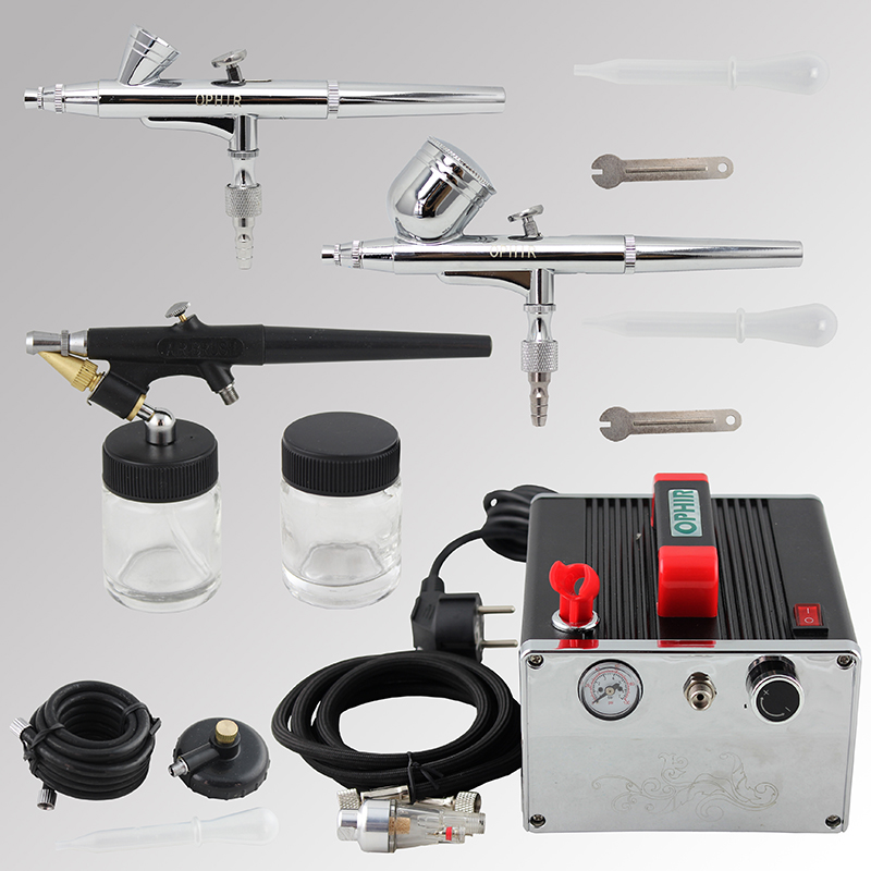 OPHIR 3 Dual-Action & Single-Action Airbrush Kits with Air Compressor Air Brush for Temporary Tattoo Nail Art_AC091+004A+071+073 ophir 3 tips dual action airbrush gravity paint air brush with 110v 220v air tank compressor for nail art body paint ac090 070