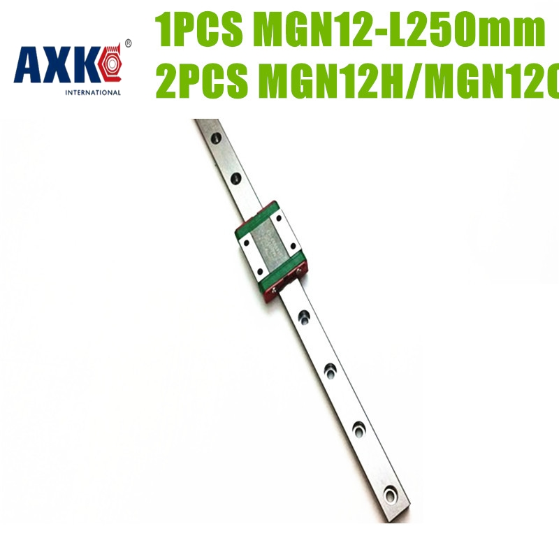 2017 Real Rodamientos Axk 1pcs 250mm Mgn12 Linear Guide Rail L250mm+ 2pc Mgn Mgn12c/mgn12h Blocks Carriage Cnc 3d Printer Shaft free shipping to argentina 2 pcs hgr25 3000mm and hgw25c 4pcs hiwin from taiwan linear guide rail