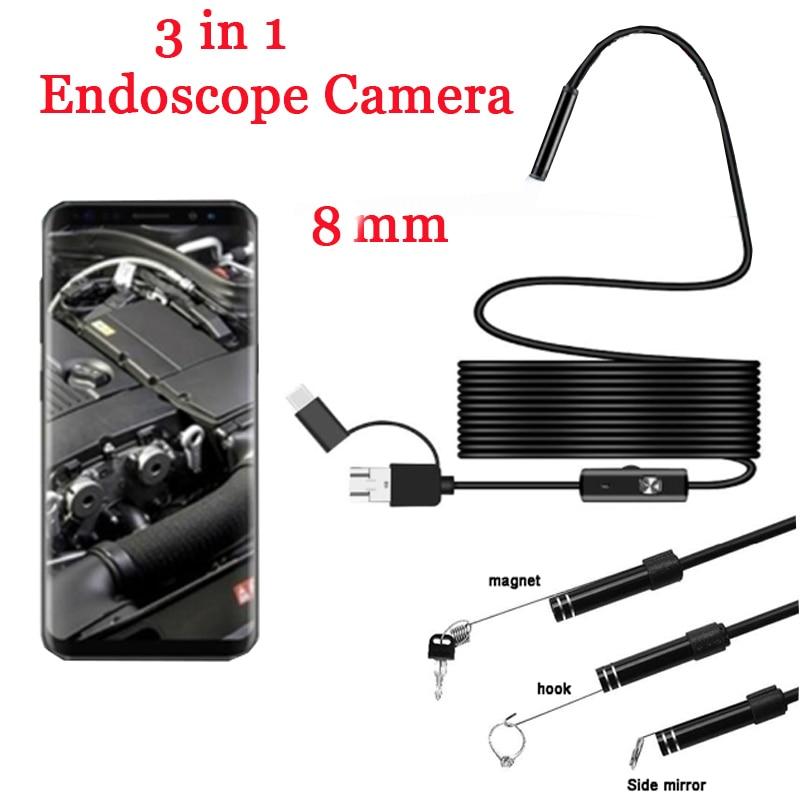 8mm 3 en 1 Endoscope caméra USB Mini caméscopes étanche 6 LED Endoscope caméras dinspection Endoscope pour Smartphone AndroidEndoscopes   -