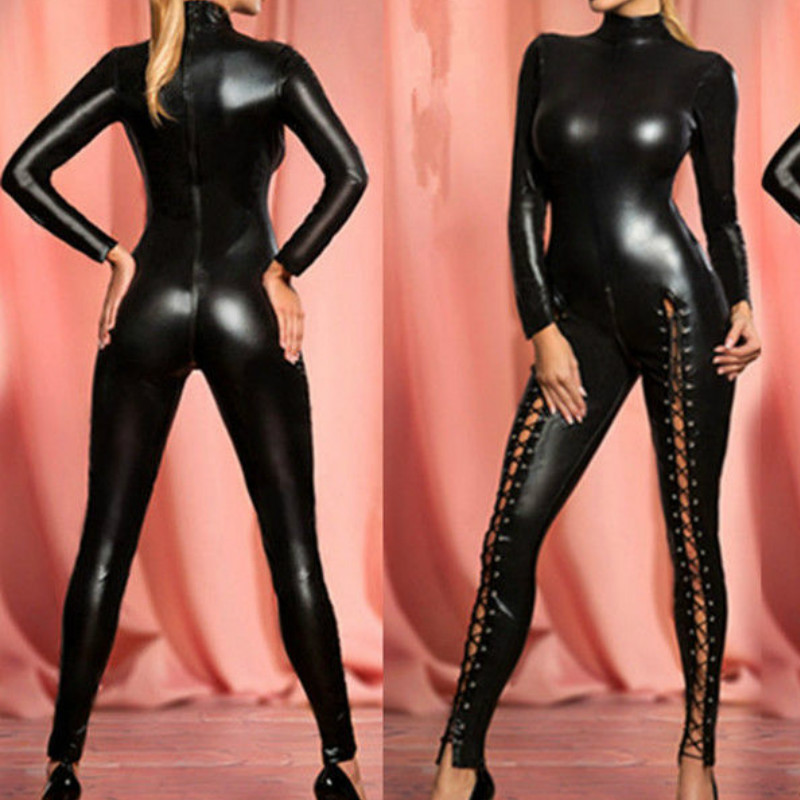 New Hot Lady Sexy PU Zentai Catsuit Smooth Wetlook Bodysuit Front Zipper Elastic Valentines Day Party Clubwear Jumpsuit