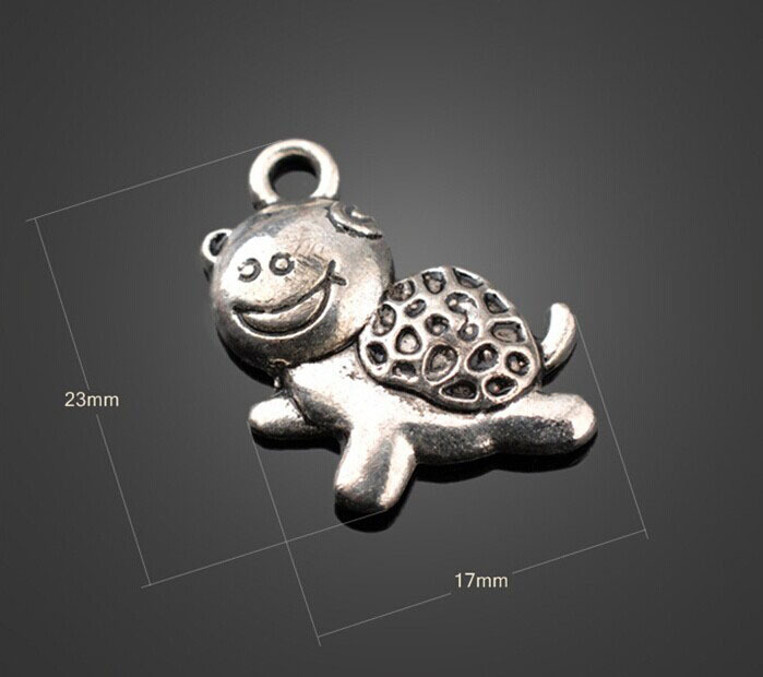 Купить с кэшбэком 150pcs Antique Silver Cute Turtle Charms Pendants -DIY Findings Necklace Bracelet Metal Fashion Bags Accessories 23mm X 17mm