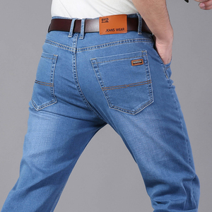 Image 5 - Brother Wang Men Jeans Business Casual Light Blue Elastic Force Fashion Denim Jeans Trousers Male Brand Pants