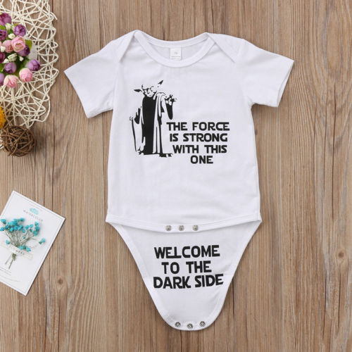 Pudcoco New Kids Summer Star Wars Romper Baby Boy Girl Cotton White Letter Romper Jumpsuit Toddler Casual Clothes Outfit