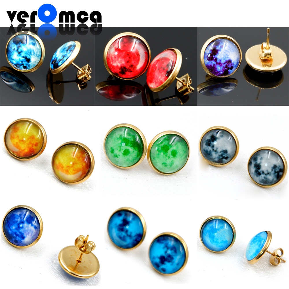 VEROMCA Glowing Star Stud Earrings at Night Popular Crystal Earrings For Women Fashion Jewelry Variety Of Styles Gold Earring