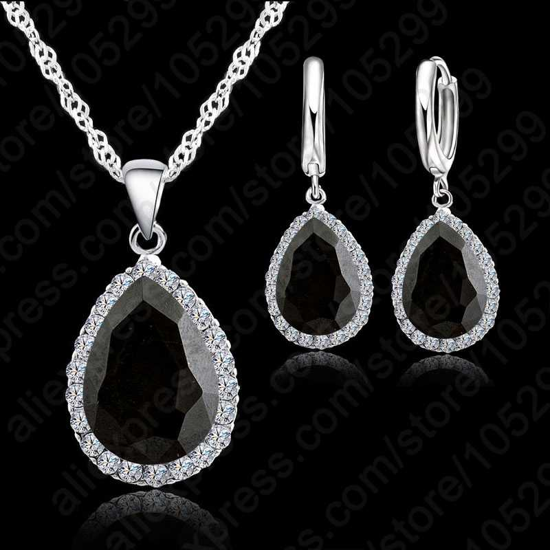925 Sterling Silver Necklace Jewelry Set  High Quality  Rhinestone Crystal Necklaces Wedding Necklace Pendants For Women