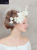BRITNRY Vintage Flower Bridal Veil Pearls Birdcage Veil Headpiece Head Veil Wedding Bridal Accessories