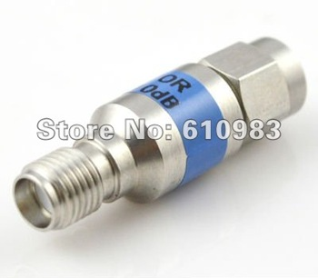 Free shipping (5 pieces/lot) Nickel SMA attenuator SMA male plug to Jack female connector adaptor DC-6GHZ 10db power attenuators