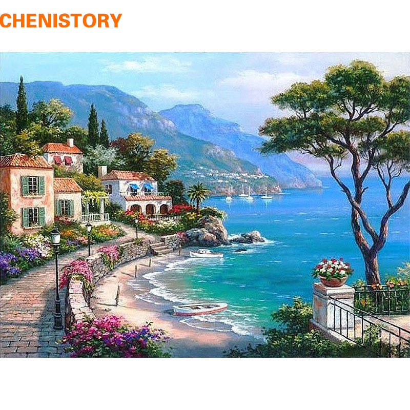 CHENISTORY Mediterranean Sea Landscape DIY Painting By Numbers Kits Paint On Canvas With Wooden Framed For Home Wall Deocr Gift