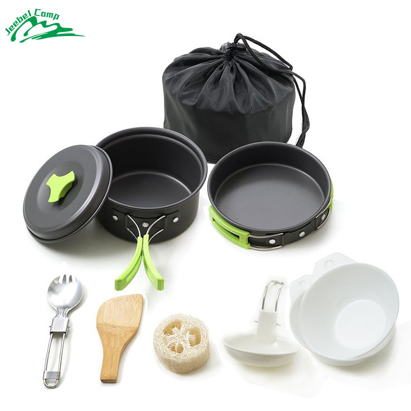 Jeebel 10 Pcs Portable Camping Cookware Set Mess Kit Folding Cookset for Hiking Backpacking Gear Lightweigh Durable Utensils