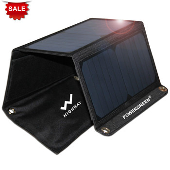 PowerGreen Folding Solar Charger 21W with Dual USB Foldable Solar Panel Bag Solar Souce for Apple for Android for PSP