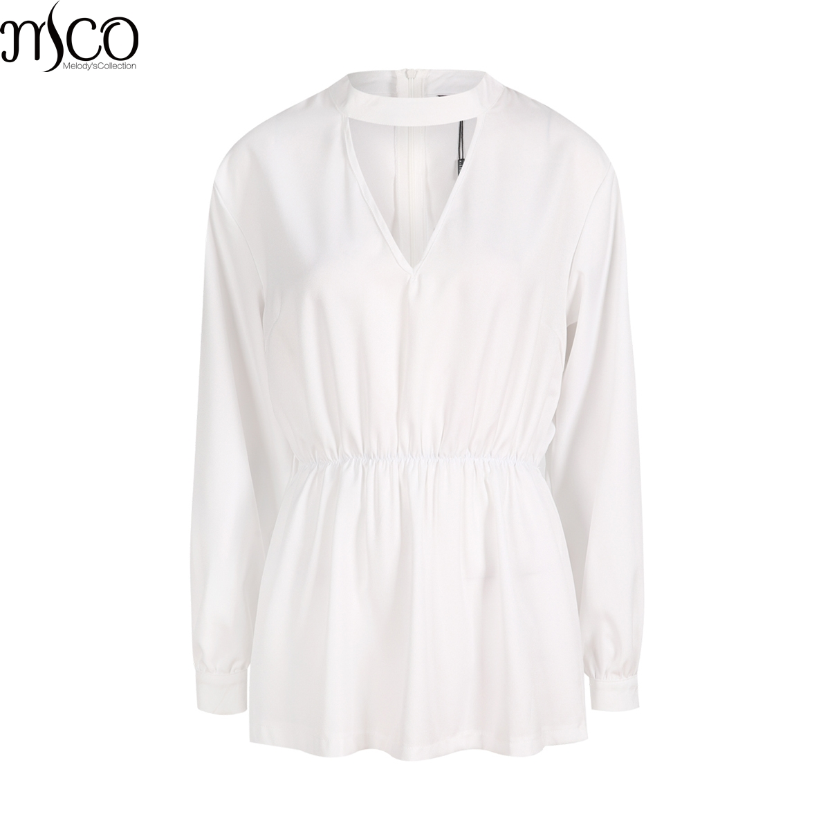 MCO Classic Chocker V Neck Plus Size Women Blouse Basic Office Ladies Big Shirt Oversized Simple OL Peplum Black Top 5xl 6xl 7xl