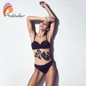Image 5 - Andzhelika 花メッシュワンピース水着女性 2020 夏のプッシュアップ水着水着プラスサイズ水着モノキニ