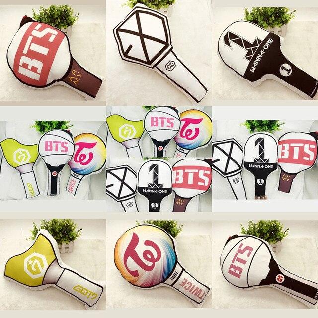 YOUPOP KPOP BTS Bangtan Boys Album TWICE WANNA ONE GOT7 EXO Light Stick  Cartoon Toy Lightstick Dolls Plush Pillow LU5088