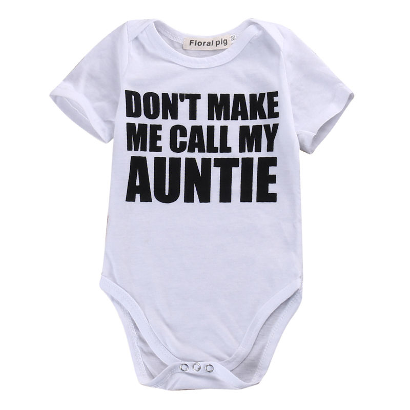 Funny Newborn Baby AUNTIE   Romper   Outfit Cotton Short Sleeve Summer O Neck Sunsuit Clothes 0-18M