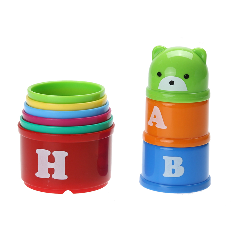 ABS Stacking Ups Toys for Kids Funny Piles Cup Baby Bath Toy Tower Count Cups Count Number Plastic ABS Letter Toy for Children cool printed flower colored abs children toy edc hand spinner for autism and adhd anxiety stress relief focus funny toys a