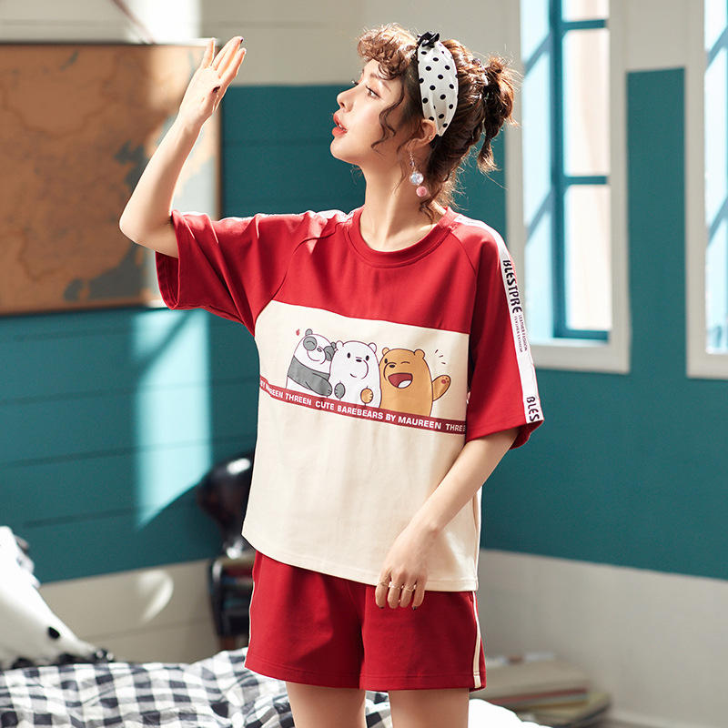 Image 2 - Fashion Color Block Women Cotton Pajama Set Korean Loose 2019 Summer Cartoon Bear Elastic Waist Sleepwear Lounge pyjamas S93213-in Pajama Sets from Underwear & Sleepwears