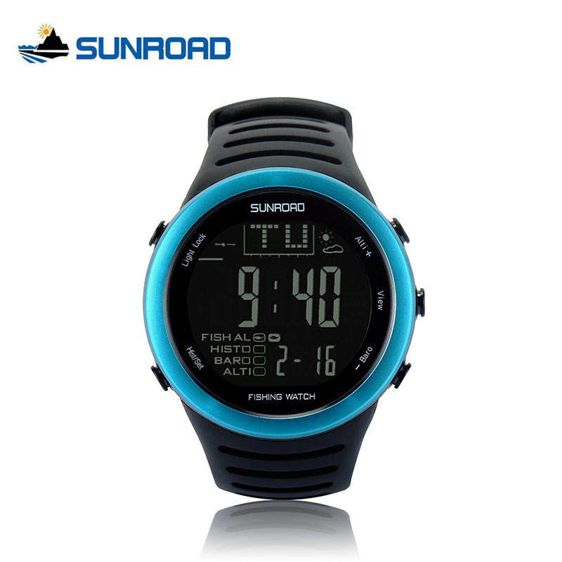 SUNROAD Fishing Digital Barometer Watch Men Altimeter Thermometer Weather Forecast 50M waterproof Stopwatch Smart Watch FR720 sunroad fx712b digital fishing barometer watch w altimeter thermometer weather forecast time