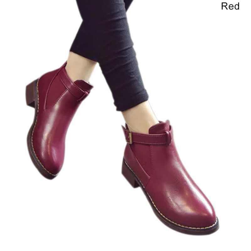 WENYUJH Kadın yarım çizmeler 2018 Sonbahar kadın ayakkabısı Kadın Düz Moda Platformu Yuvarlak Ayak Toka Kayış Katı Rahat
