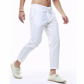 Gorąca sprzedaż letnie męskie dorywczo kostki ołówkowe spodnie w pasie proste sznurkiem Slim Fit spodnie jednokolorowe białe spodnie