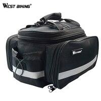 WEST BIKING Waterproof Cycling Bicycle Bike Rear Seat Road MTB Handbag Pannier BlackTrunk Bag With Raincoat Bicycle Accessories