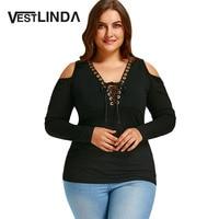 VESTLINDA Tees Tops Plus Size 5XL Autumn 2017 Cold Shoulder Tops Women Long Sleeve Sexy V