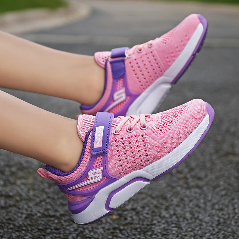 2019 New Girls Shoes Mesh Hollow Breathable Children Flying Woven Shoes Korean Version Of The Trend Of Casual Sports Shoes