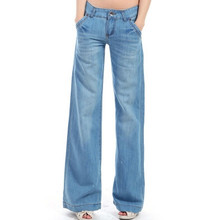 Новые широкие брюки ноги свободные прямые талии брюки клеш наземные белые джинсы для женщин
