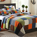 CHAUSUB Handgemaakte Patchwork Quilt Set 3 PCS Wasbare Sprei Katoen Airconditioning Quilts Dikke Bed Cover King Queen Size Dekbed