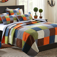 CHAUSUB Handmade Patchwork Quilt Set 3PCS Washable Bedspread Cotton Aircondition Quilts Thick Bed Cover King Queen Size Coverlet