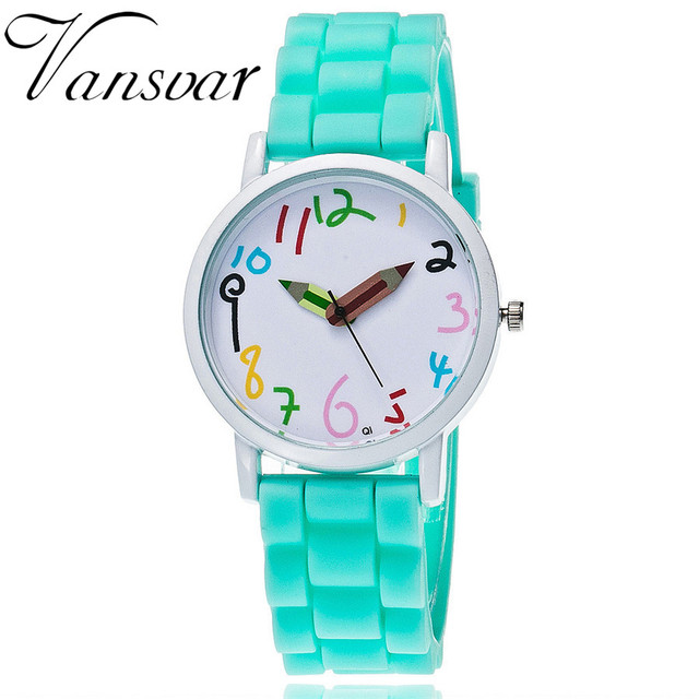 Vansvar Brand Fashion Jelly Silicone Pencil Watch Women Wristwatch Casual Candy