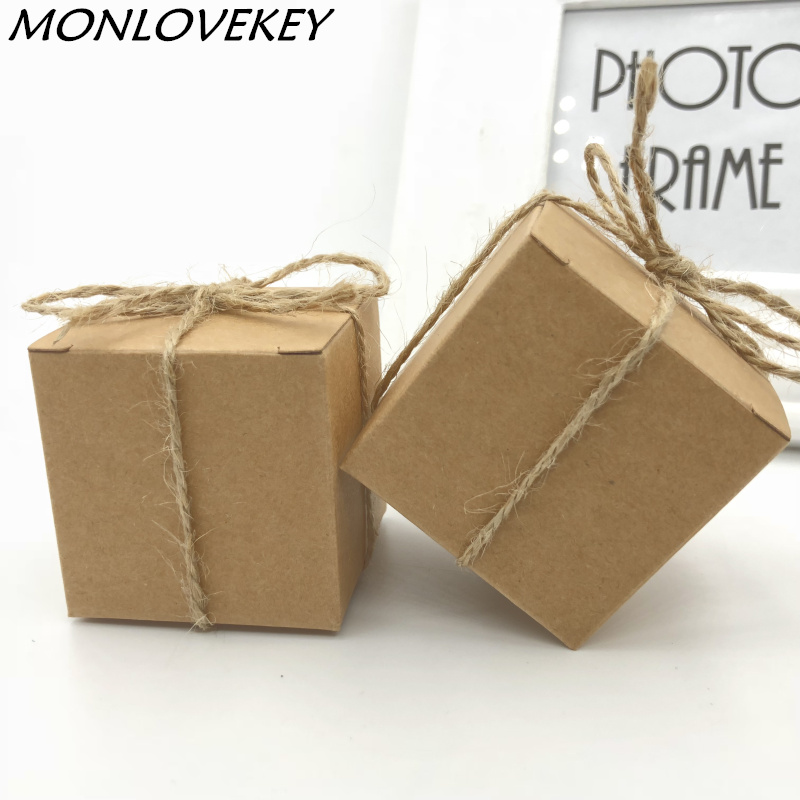 Free shipping 5x5x5cm Natural Kraft Paper Wedding Candy Boxes with Hemp Rope Brown Paper Square Favor Candy Boxes Supplies