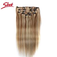 Sleek Colorful Hair 7Pcs Clip in Human Hair Extensions Brazilian Striaght Honey Blonde #P6/613 Color Remy Hair Extension Clip