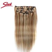 Sleek Hair 7Pcs Clip in p27/613# Human Hair Extensions Brazilian Striaght Honey Blonde #P6/613 Color Remy Hair Extension Clip