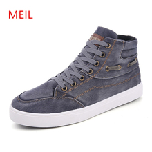 Hot selling 2019 Autumn Summer Men Denim Casual Shoes Fashion Sewing Platform Sneakers Breathable Male High top Canvas