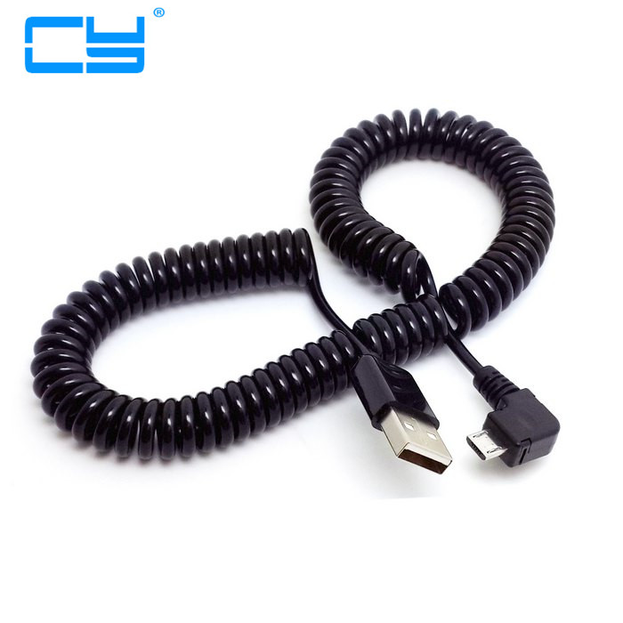 3M/10FT 90 Degree Right Elbow Spring Coiled USB 2.0 Male To Usb Micro Data Sync Charger Cable For Android Mobile Phones