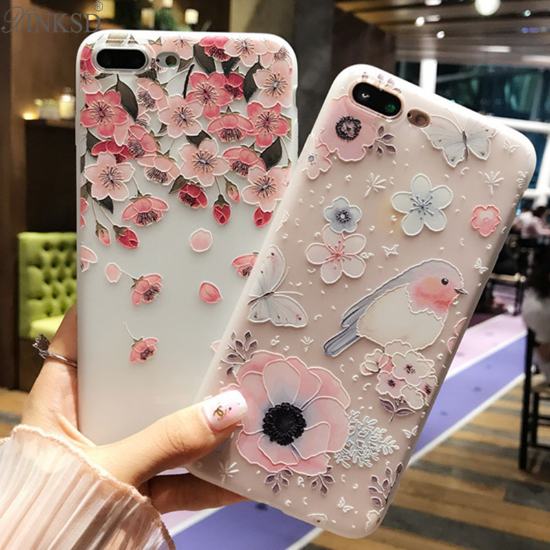 3D Relief Cover For iPhone 6 Case Cute Flower Silicone Matte Soft Coque For iPhone 7 Case Luxury Slim Case For iPhone 7 6 Plus