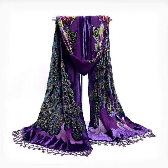 عالية الجودة الأرجواني الصينية المرأة المخملية الحرير وشاح شال اليدوية مطرز التطريز الطاووس وشاح شال الأوشحة التفاف