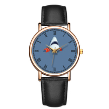 B-9208 BAOSAILI Brand Black Leather Mens Watch Cute Shark Quartz Wrist Watches Man Fancy Dial Design Logo Watch