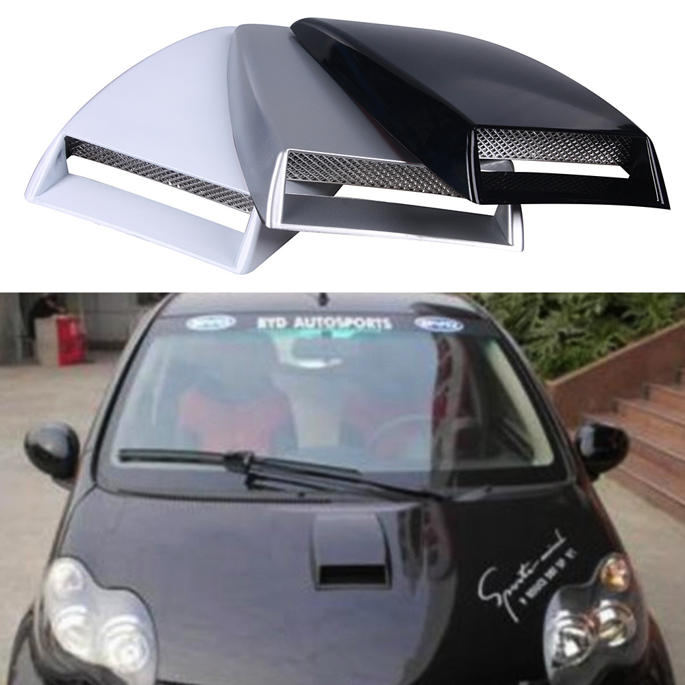 Car Styling Universal Car Stickers Car Decorative Air Flow Intake Scoop Turbo Bonnet Vent Cover Black/Silver/White Hood Decorate источник света для авто conbays 2 881 7 5w led smd led exteral