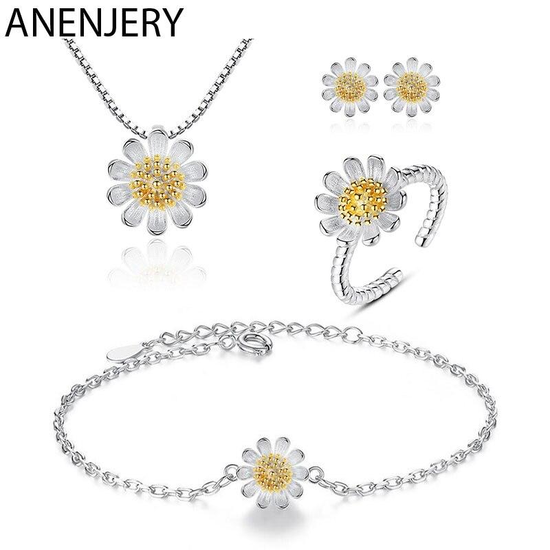 ANENJERY S925 Stempel Silber Farbe Schmuck Sets Sunflower Daisy Blume Halskette + Ohrringe + Armband + Ring Für Frauen Mädchen geschenk