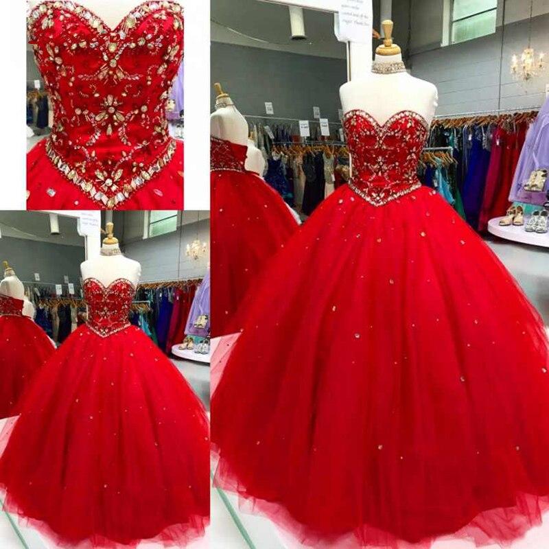 71dd13f48 Rojo de lujo vestidos Quinceanera vestido de bola de cristales tul baile de  Debutante 16 dulces 16 vestido vestidos de 15 años - a.canijustsay.me