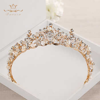 Fashion Brides Crystal Tiaras Crowns Gold Headpieces Rhinestone Wedding Hair Accessories Evening Hair Jewelry - DISCOUNT ITEM  22% OFF All Category