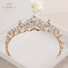 Moda gelinler kristal Tiaras taçlar altın Headpieces Rhinestone düğün saç aksesuarları akşam saç takı