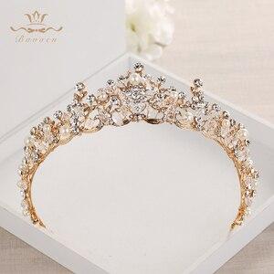 Image 1 - แฟชั่นเจ้าสาวคริสตัล Tiaras Crowns ทอง Headpieces Rhinestone อุปกรณ์เสริมผมงานแต่งงาน Evening เครื่องประดับผม